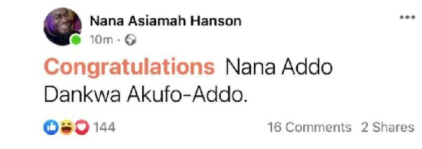 Bulldog Sends a Congratulatory Message to Akuffo-Addo